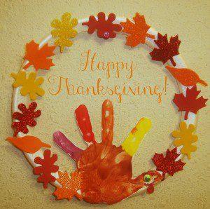 Thanksgiving Wreath kids craft, Turkey Hand print Art