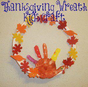 Hand print Turkey Art, Thanksgiving Wreath Kids Craft