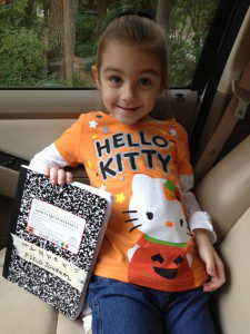 Ready for her first day of Show & Tell with her butterfly garden field journal