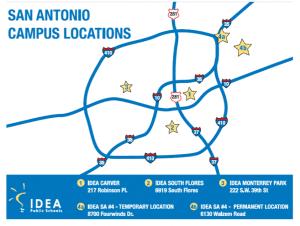 Map of IDEA Schools in San Antonio