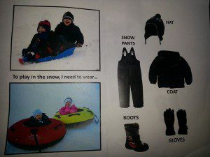 Our picture explaining all the articles of clothes we MUST wear to play in the snow!