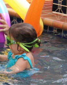 Ilana, swimming in the pool shortly before the near-drowning.