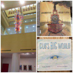 San Antonio Book Festival: Central Library gallery; Locomotive by Brian Floca; Cub's Big World illustrated by Joe Cepeda   Alamo City Moms Blog