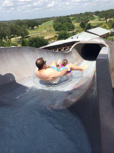 Hubby & daughter venturing down one of the Acequia tube slides