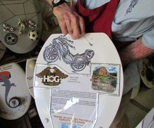 Motorcycle drawing - toilet seat art | Alamo City Moms Blog