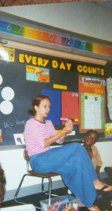 Me teaching first grade. The confused look on my face is because I was teaching math.