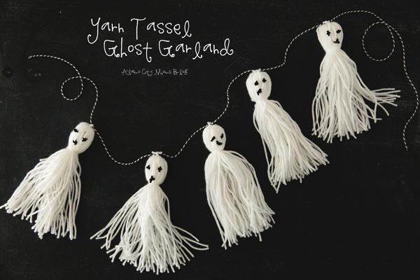 Yarn Tassel Ghost Garland @ Alamo City Moms Blog