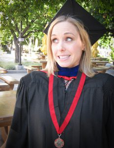 This is me having earned a degree that totally did not prepare me for becoming a parent (my daughter liked to point out my fancy pirate hat and the medal I must have earned at soccer class…)