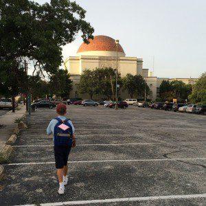 Walking to school at Great Hearts Monte Vista charter school San Antonio Texas