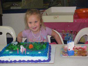 Molly celebrating a birthday.