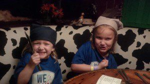 The girls with their napkin-bandannas.