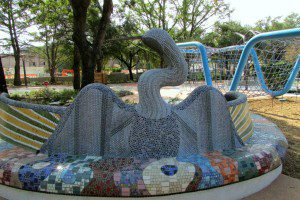 Anhinga bird mosaic bench by Oscar Alvarado at Yanguana Garden in Hemisfair | Alamo City Moms Blog