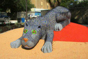 Mosaic blue jaguar climbing structure by Oscar Alvarado at Yanaguana Garden in Hemisfair | Alamo City Moms Blog