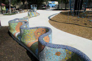 Long mosaic bench representing the San Antonio River by Oscar Alvarado at Yanaguana Garden in Hemisfair | Alamo City Moms Blog