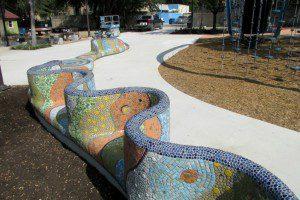 Long mosaic bench representing the San Antonio River by Oscar Alvarado at Yanaguana Garden in Hemisfair | Alamo City Moms Blog