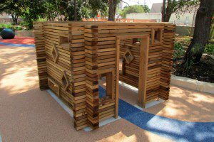 Wooden play structure for young children at Yanaguana Garden in Hemisfair | Alamo City Moms Blog