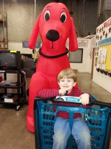 My Little with Clifford the Big Red Dog at last year's sale. He came just once and now begs to go to the sale again.
