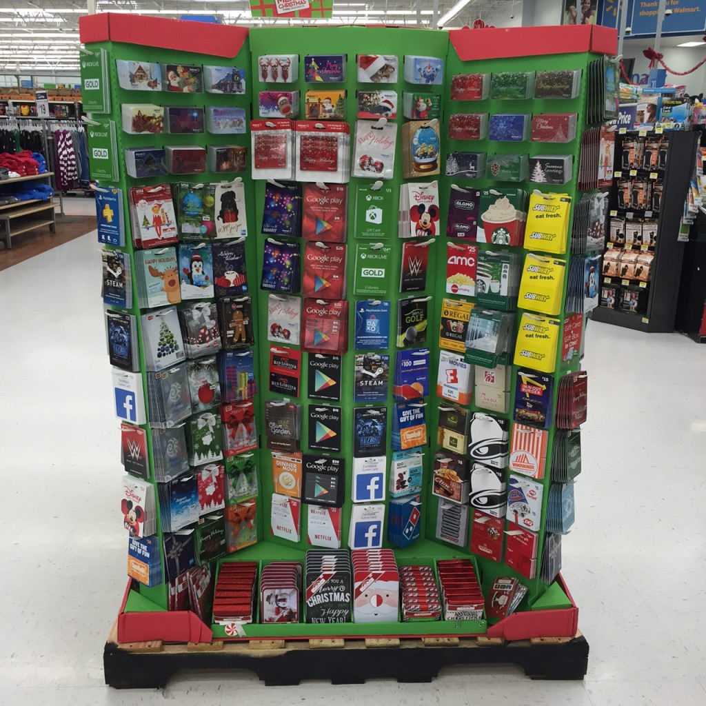 behold the display at the front of the store at my local walmart aka gift card central every christmas
