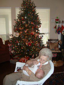 """Grandma, or """"GG"""" as she was known to her great-grandchildren, enjoying Christmas with one of littles."""