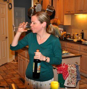 This is me, circa Christmas 2009 BC (before Children), hurriedly polishing off a glass of white wine so I could move onto the red. Such a move seems unfathomable to me today.