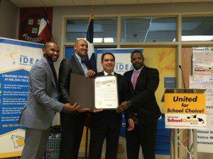 School Choice Week proclamation at IDEA Walzem with Evan Yates, Councilman Alan E. Warrick II, Rolando Posada, and Khalil Graham | Alamo City Moms Blog