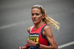 Andrea Duke running the 2015 Boston Marathon.