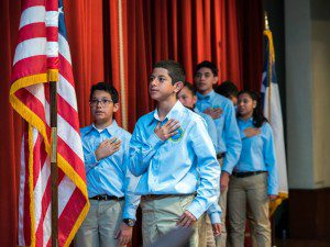 Nathan Hinojosa and student ambassadors lead Pledge of Allegiance at IDEA Public Schools San Antonio luncheon | Alamo City Moms Blog
