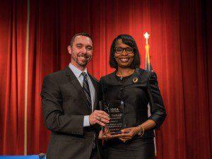 IDEA Public Schools Founder and CEO Tom Torkelson presents Mayor Ivy Taylor with Closing the Achievement Gap award | Alamo City Moms Blog