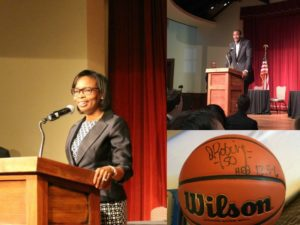 Mayor Ivy Taylor and philanthropist David Robinson at the San Antonio Regional Public PK-12 Education Forum on April 21, 2016 at the Pearl Stable | Alamo City Moms Blog