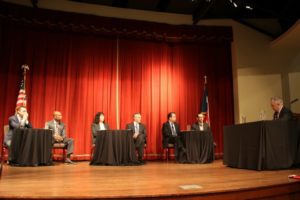 Tom Torkelson, Bobby Blount, Elaine Mendoza, Mark Larson, Pedro Martinez, Mike Morath, and Bob Rivard at the San Antonio Regional Public PK-12 Education Forum on April 21, 2016 at the Pearl Stable | Alamo City Moms Blog