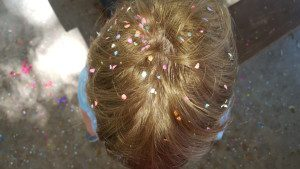 Another must for Fiesta: cascarones and confetti that you'll be cleaning up for months. By the way, wet confetti leaves stains, so always brush it out before showering or you'll end up with pink spots on your scalp. I won't tell you how I know that.