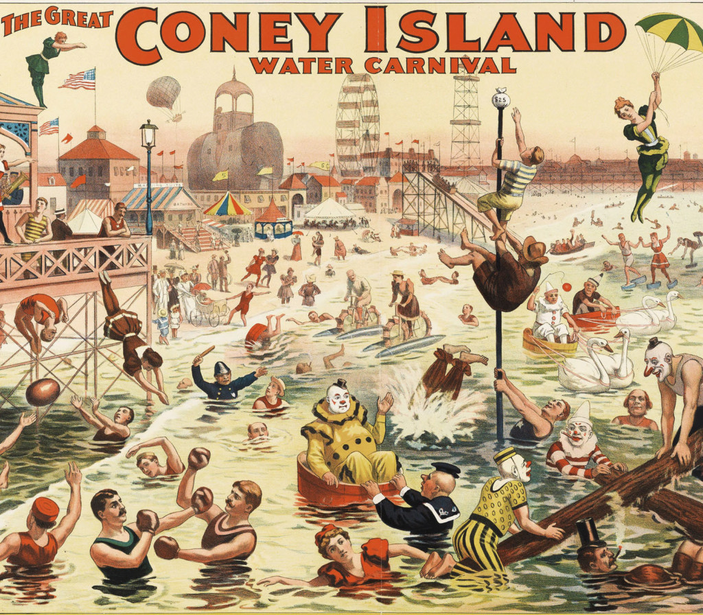 CIN862746 The Barnum & Bailey Greatest Show on Earth - The Great Coney Island Water Carnival, c.1898 (chromolitho) by American School, (19th century); Cincinnati Art Museum, Ohio, USA; (add.info.: Coney Island is a residential neighborhood, peninsula and beach on the Atlantic Ocean in southwestern Brooklyn, New York City. Coney Island is well known as the site of amusement parks and a seaside resort. The attractions reached their peak during the first half of the 20th century. The Ringling Brothers Circus was a circus founded in the United States in 1884 by five of the seven Ringling Brothers: Albert (1852–1916), August (1854–1907), Otto (1858–1911), Alfred T. (1862–1919), Charles (1863–1926), John (1866–1936), and Henry (1869–1918). In 1907 it acquired the Barnum & Bailey Circus, merging them in 1919 to become Ringling Brothers Barnum and Bailey Circus, promoted as The Greatest Show on Earth.); American, out of copyright