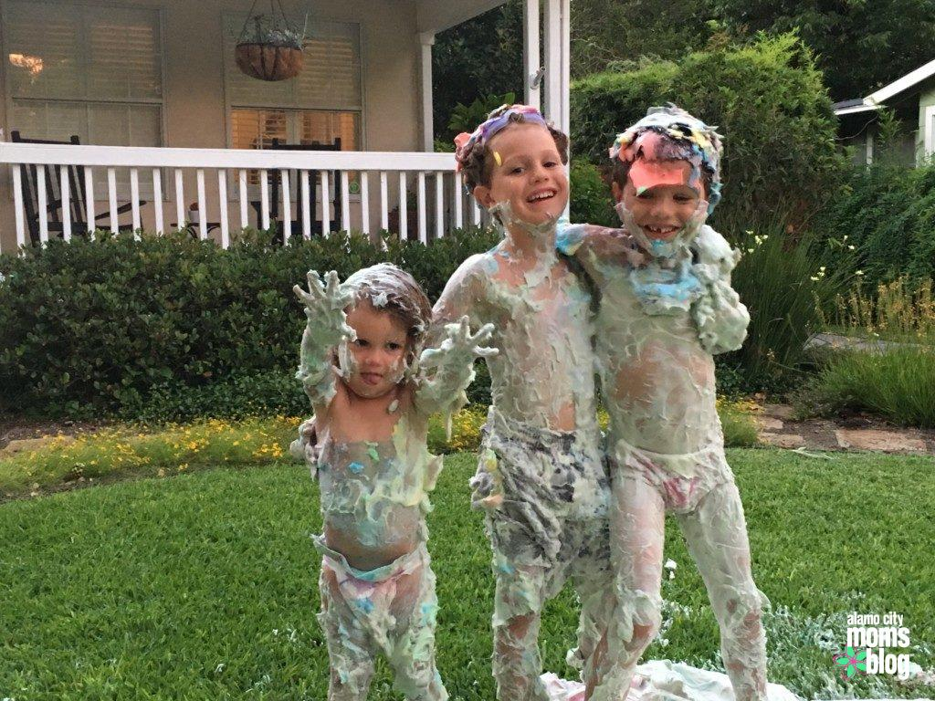 Shaving cream twister in the front yard!