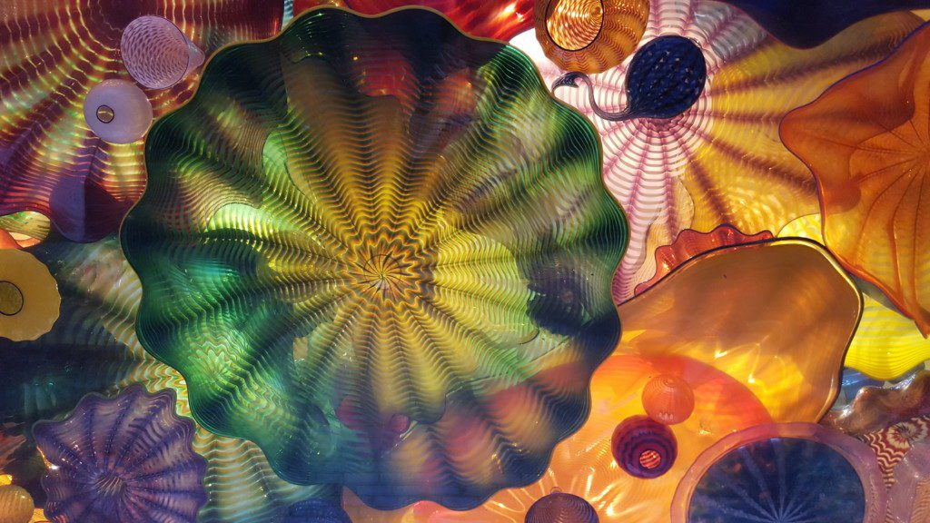 "Dale Chihuly's ""Persian Ceiling"" featured in SAMA. Doesn't it look perfect to spin around under so the colors blur?!?"
