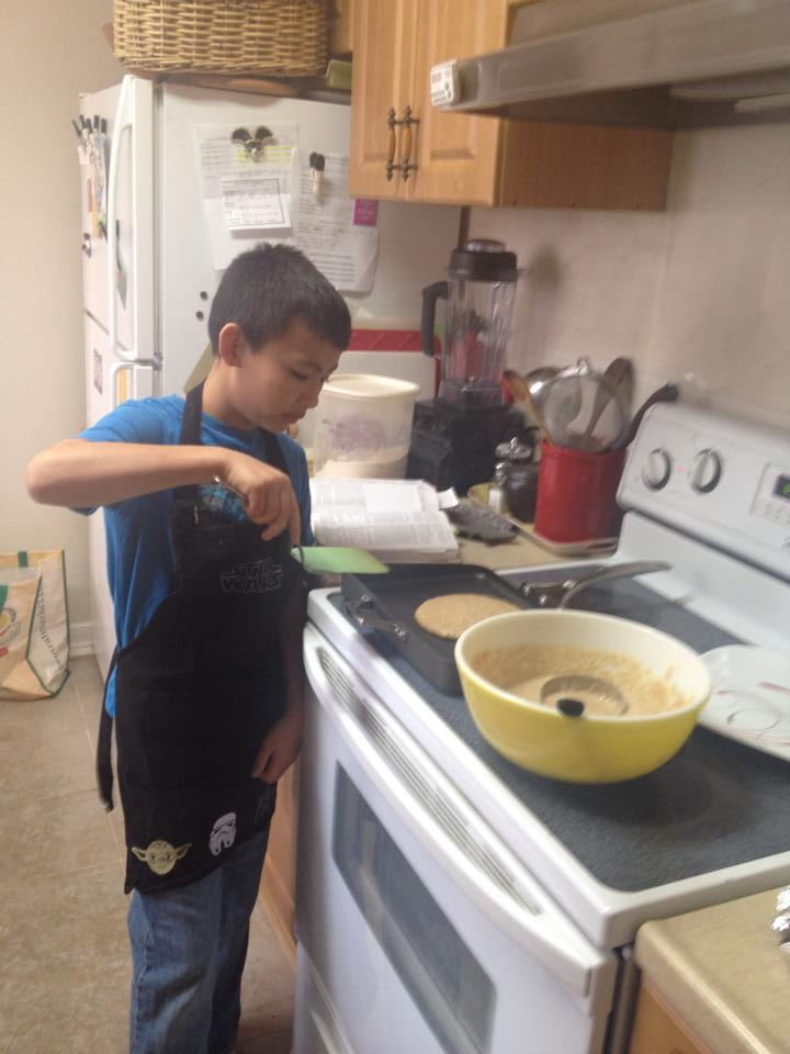Zachary makes pancakes on his own.