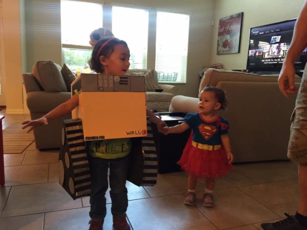Major props for creativity with Wall-E. And, Wall-E and Super Girl can unite forces and save the world.