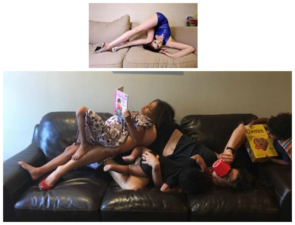 Breastfeeding on couch - homage to Celeste Barber