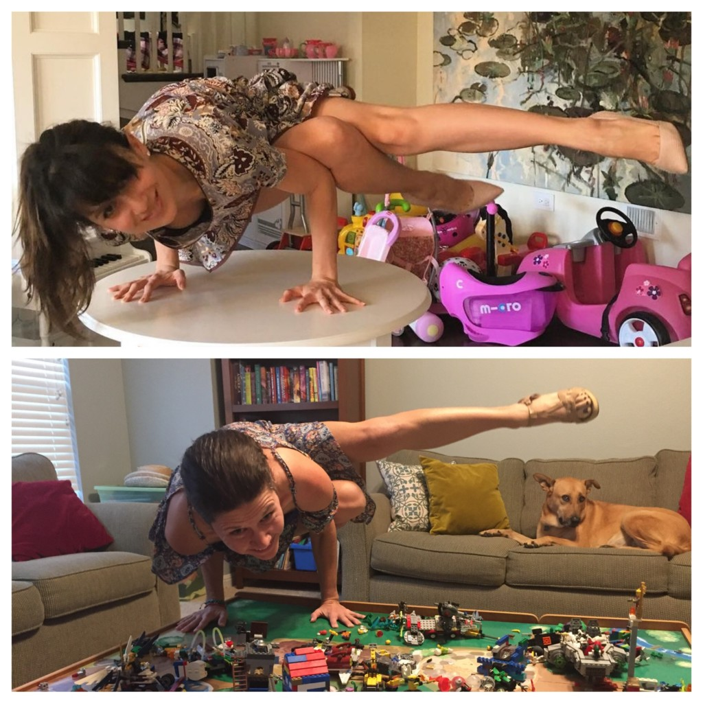 Yoga and LEGO table - homage to Celeste Barber
