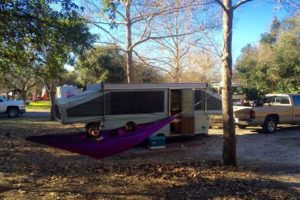 Our first pop-up, a vintage 1973 Jayco Jaycardinal. In her prime, she was la creme de la creme.