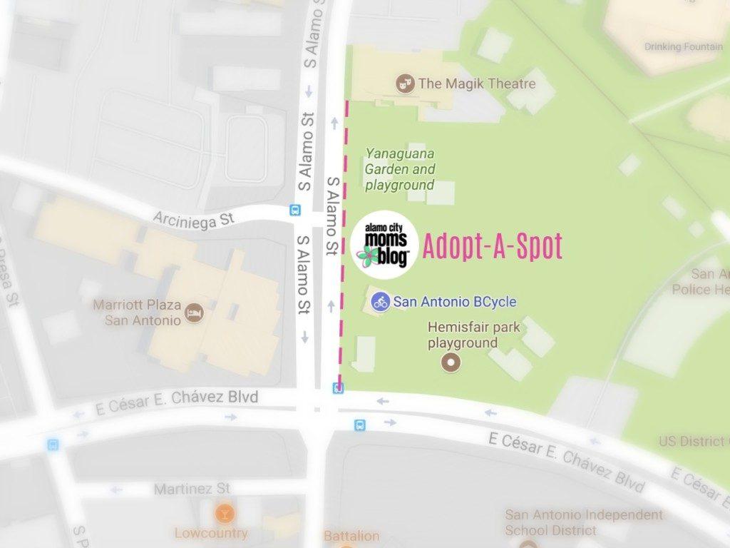 Map showing Alamo City Moms Blog's Adopt-A-Spot location along South Alamo Street near Hemisfair