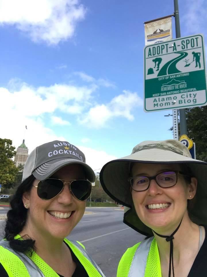 Amanda Gentis and Inga Cotton at Alamo City Moms Blog Adopt-A-Spot and park cleanup at Hemisfair