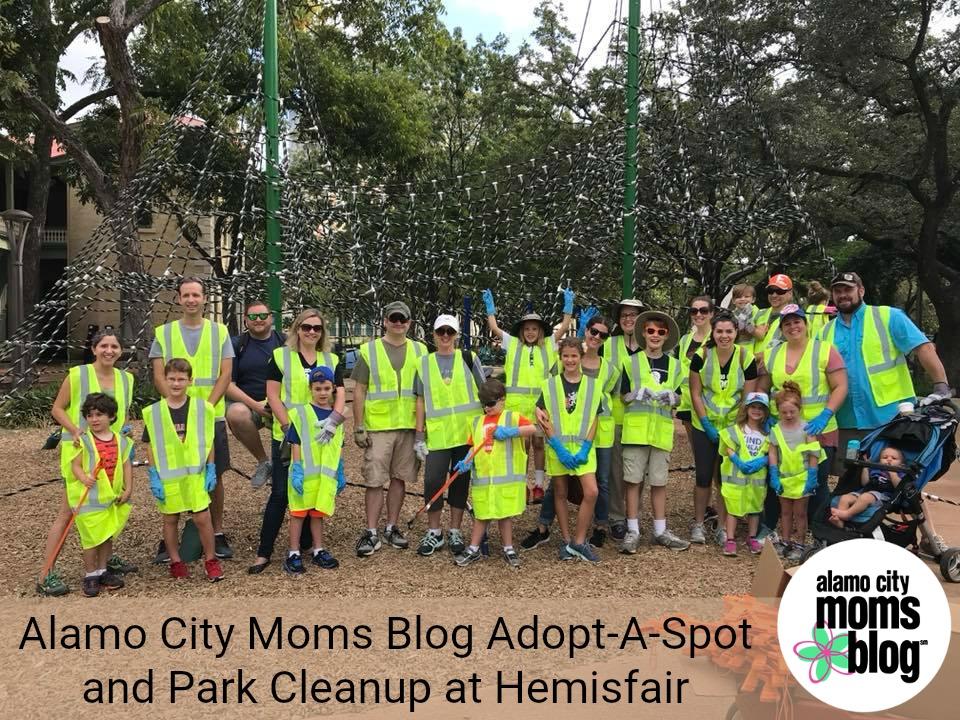 Alamo City Moms Blog Adopt-A-Spot and Park Cleanup at Hemisfair