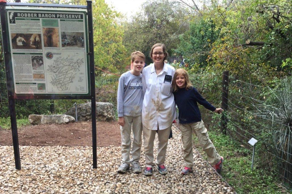 Inga Cotton and family outside Robber Baron Cave in San Antonio, Texas | Alamo City Moms Blog