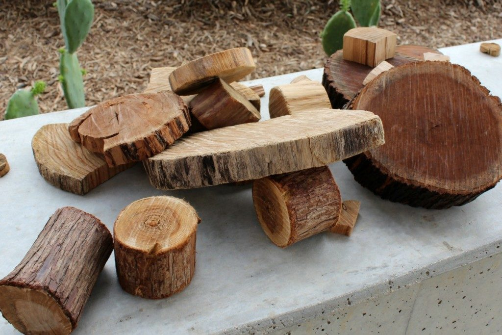 Natural wood blocks at the Family Adventure Garden at the San Antonio Botanical Garden | Alamo City Moms Blog