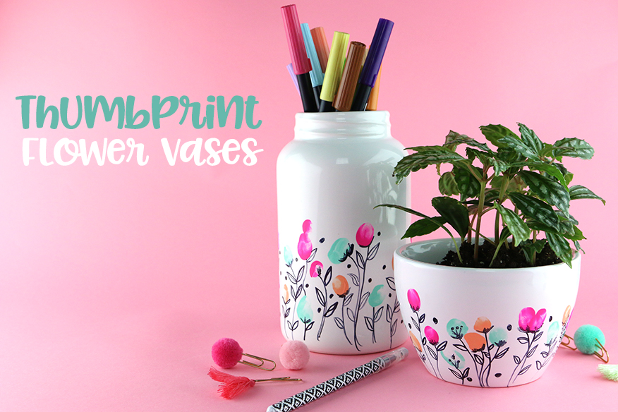 Diy Thumbprint Vases For Mothers Day