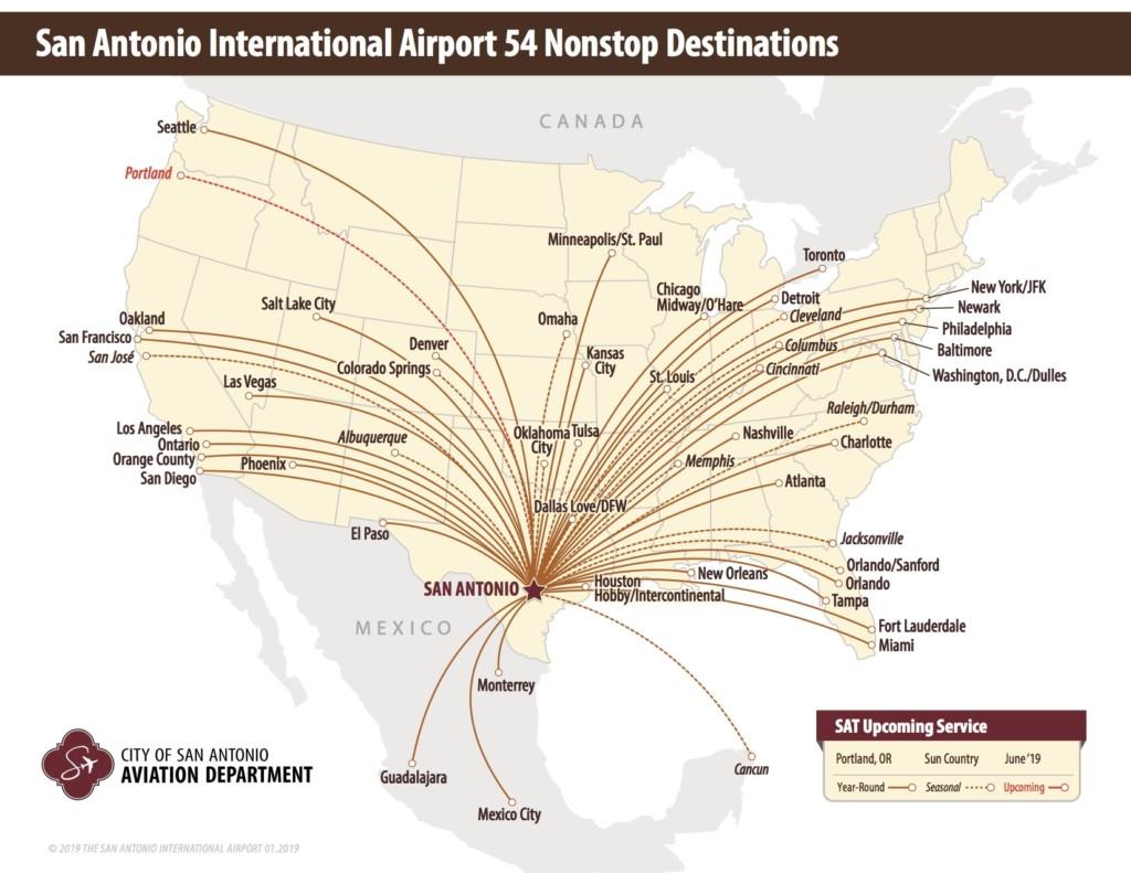 Nonstop Flights from San Antonio International Airport 2019 | Alamo City Moms Blog