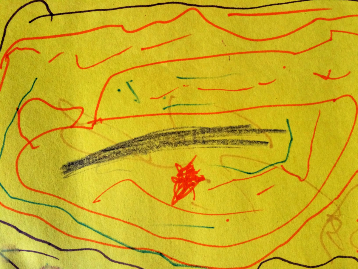child's drawing on yellow paper