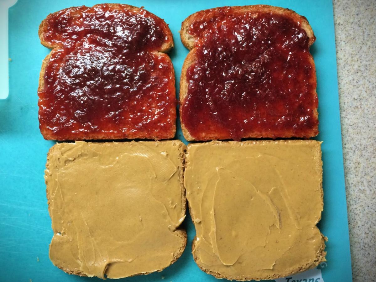 making a peanut butter sandwich