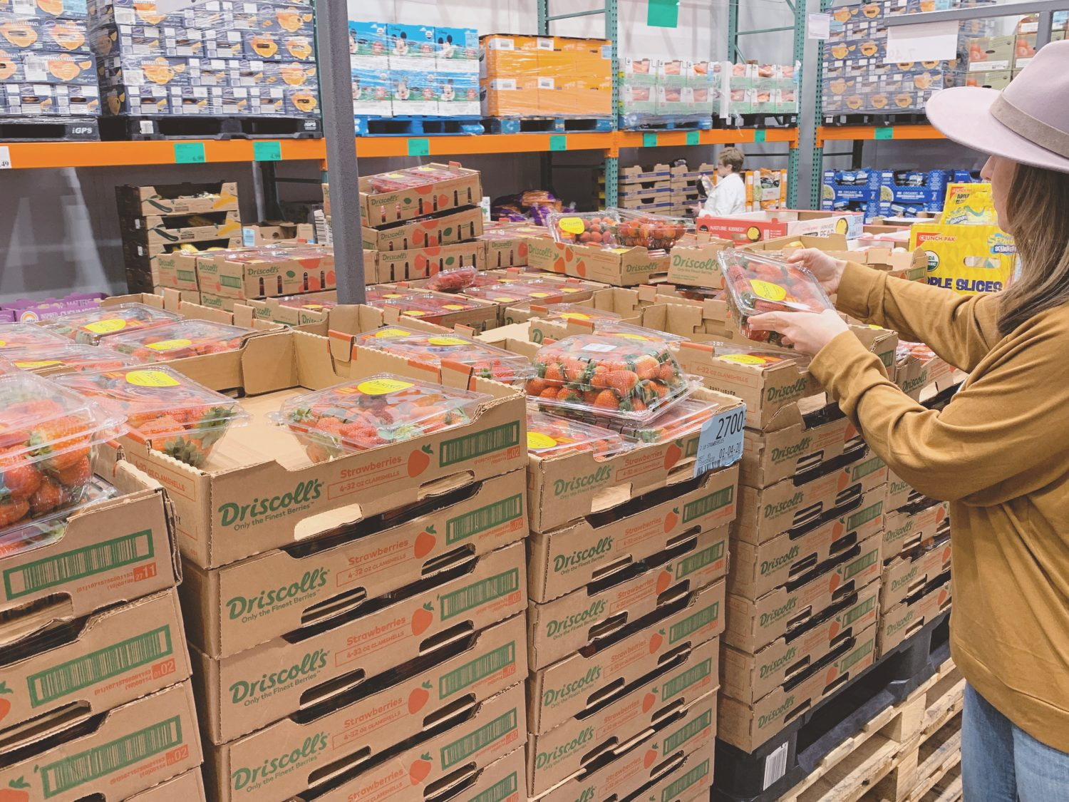 shopping for produce at costco