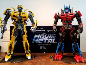 two Transformers statues